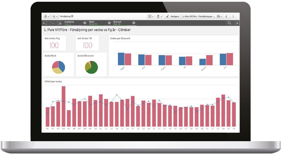 En BI-lösning i Qlik Sense sammanställer försäljningsstatistik med data från inköps-, lagerhanterings, personal- och produktionssystem åt Saltå Kvarn.