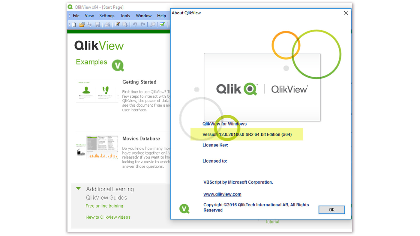 Här kan du se versionsnummer av QlikView