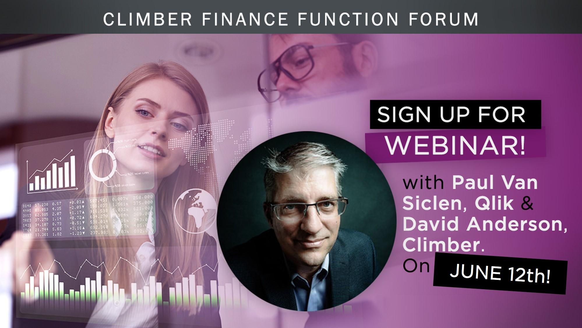 Finance function webinar with Paul van Siclen at Qlik on June 12