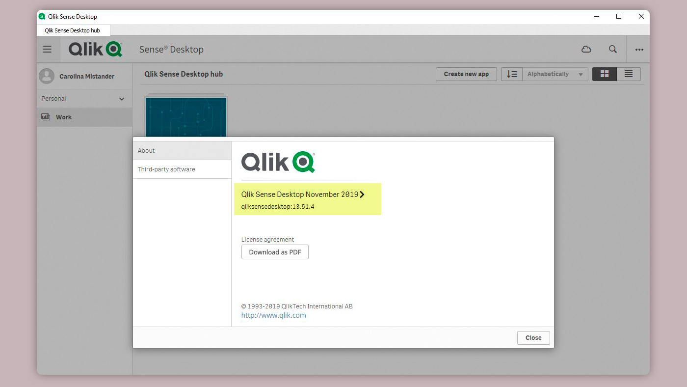 Qlik Version Desktop November 2019 - qliksensdesktop:13.51.4